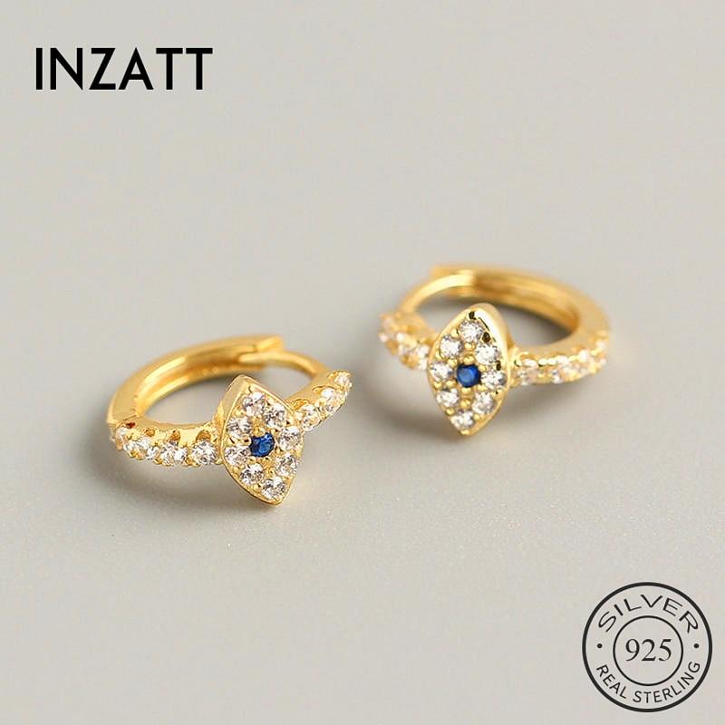 INZATT Real 925 Sterling Silver Blue Zircon Eye  Hoop Earrings For Fashion Women Party Fine Jewelry Minimalist Accessories  Gift