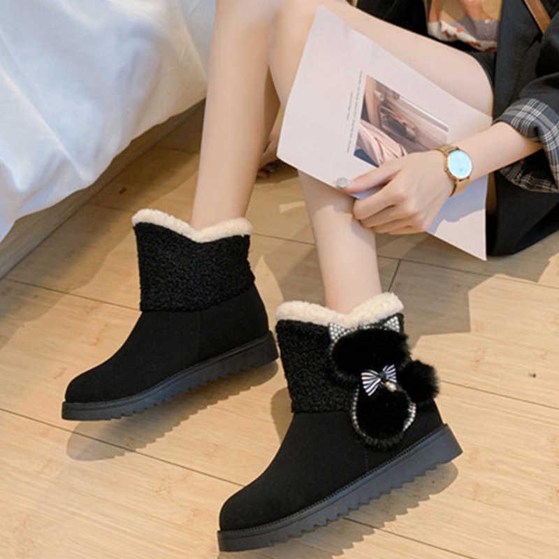 DORATASIA yeni kız sıcak dekorasyon patik bayanlar kış kaymaz ayak bileği kar botları kadın 2020 rahat düz ayakkabı kadın