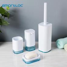 smartloc 4pcs Plastic Bathroom Accessories Set Toilet Accessories Washroom Accessories Soap Dispenser Trash Bin Toilet Brush