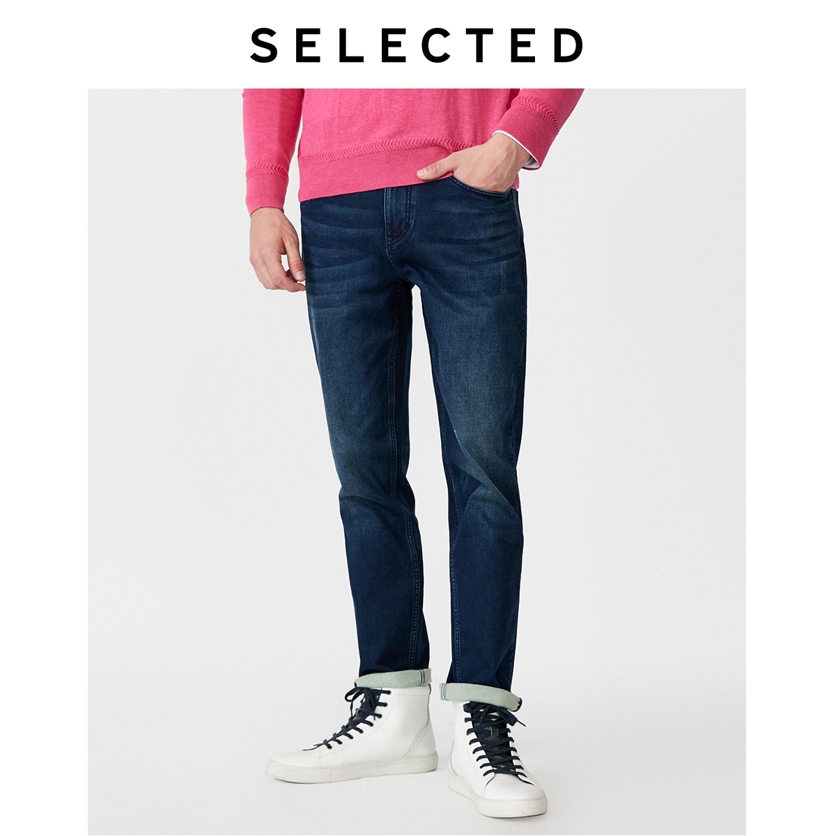 SELECTED Men's Stretch Cotton Denim Pants Straight Casual Regular Fit Jeans R|419432531