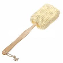 Домашняя щетка для ванной и душа, скруббер, сизаль, ванная комната из дерева, с длинной ручкой, Массажная щетка, очищающая кожу, губка для тела, деревянная, Spa