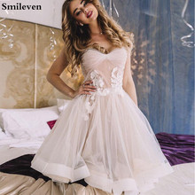 Smileven Beach Short Wedding Dress 2019 Sweetheart A Line mini Boho Bride Dresses Strapless Gowns