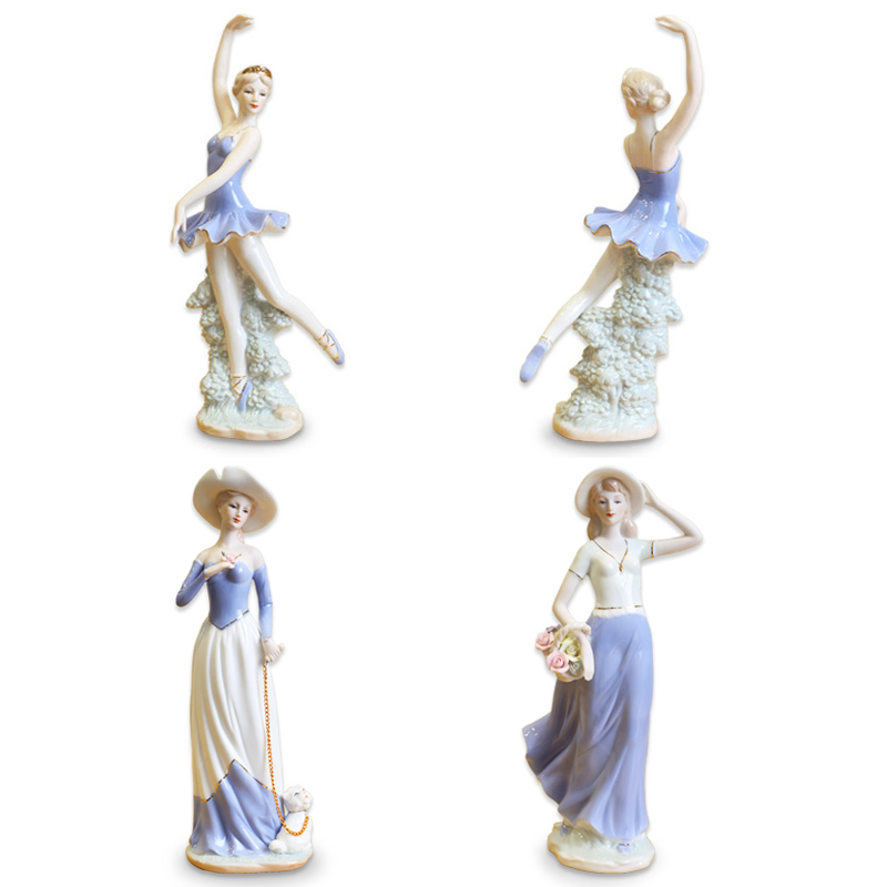 European Ceramic Beauty Figurines Home Decoration Accessories Crafts Western Porcelain Handicraft Ornament Wedding Gift