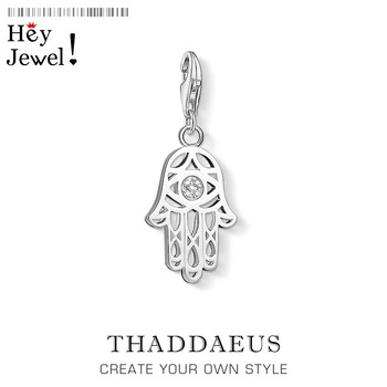 Ręka fatimy Charm wisiorki dla kobiet mężczyzn Vintage Amulet 925 srebro biżuteria Fit bransoletka naszyjnik