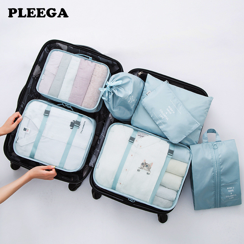 PLEEGA 7Pcs/set Travel Bags Clothing Underwear Shoes Packing Organizer Cube Portable Toiletry Make Up Pouch Accessories Supplies