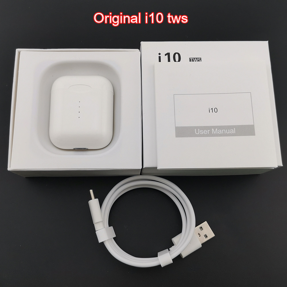 Original <font><b>i10</b></font> <font><b>TWS</b></font> Wireless Bluetooth 5.0 Earbuds Earphone Auto Turn On/off Wireless Charging with HD Mic For iPhone Android Phone image