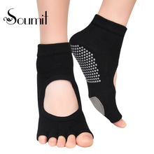 Soumit Cotton Yoga Socks Silicone Dots Non-slip Half Toes Socks with Leather Forefoot Pads Backless Sock for Ballet Gym Fitness