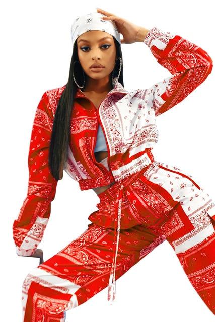 Paisley Bandana Print Two 2 Piece Set Women Fitness Sweatsuit Zipper Up Sweatshirt + Jogger Pants Set Tracksuit Vintage Outfits 5