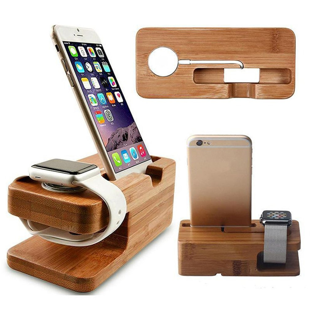 Wooden Charging Dock Station for Mobile Phone Holder Stand Bamboo Charger Stand Base For Apple Watch 6 5 4 3 2 SE and For iphone