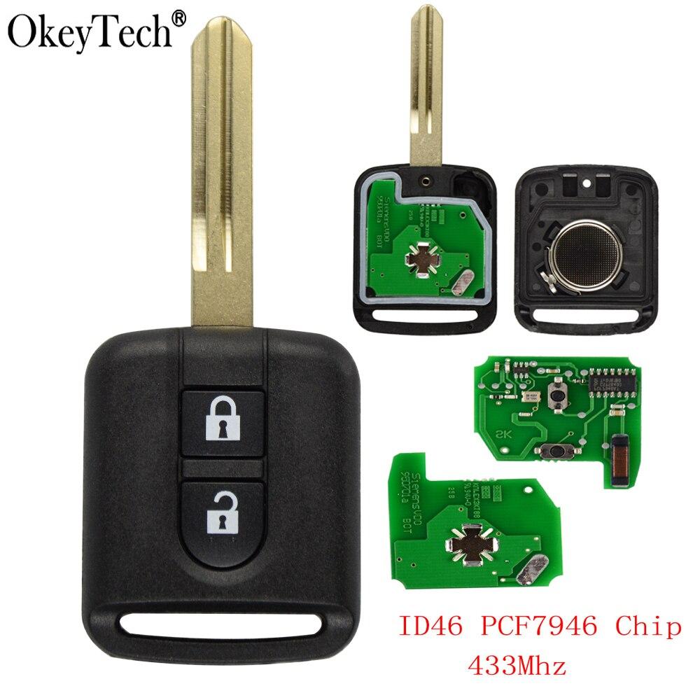 Okeytech 2 bouton 433Mhz ID46 PCF7946 puce télécommande voiture porte-clés pour Nissan Elgrand X-TRAIL Qashqai Navara Micra Note NV200 clé de voiture