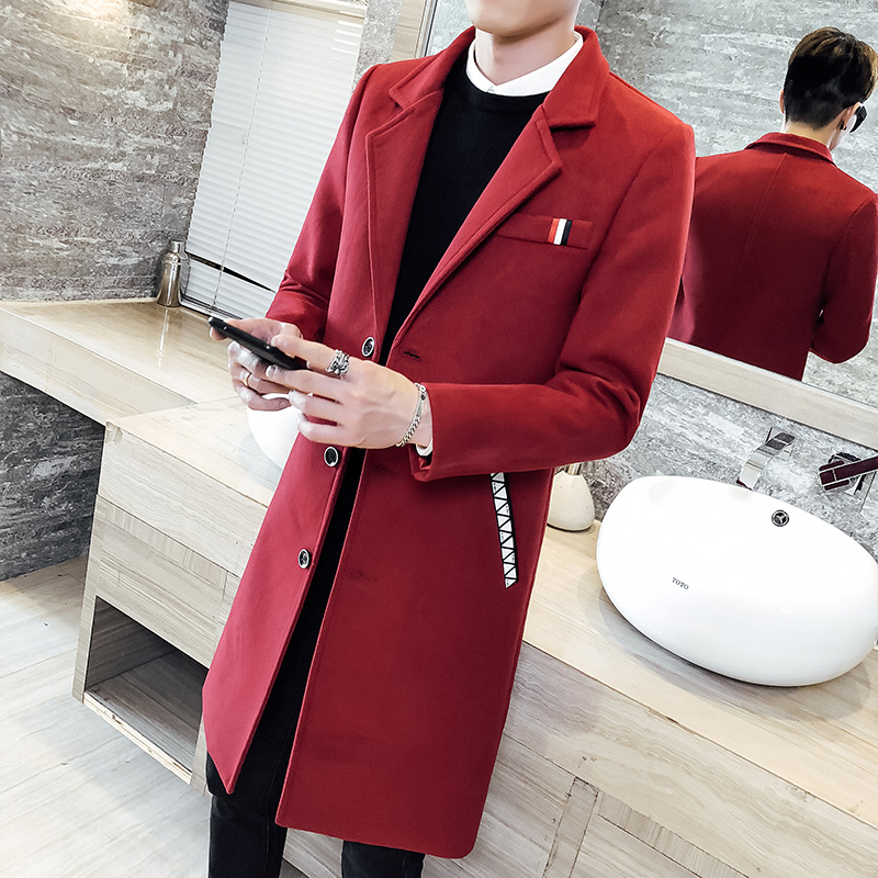 British Style Mens Trench Coats Red Long Coat Mens Vintage Men Fall Long Coats Woolen Double Collar Jackets Slim Fit 2020 Winter
