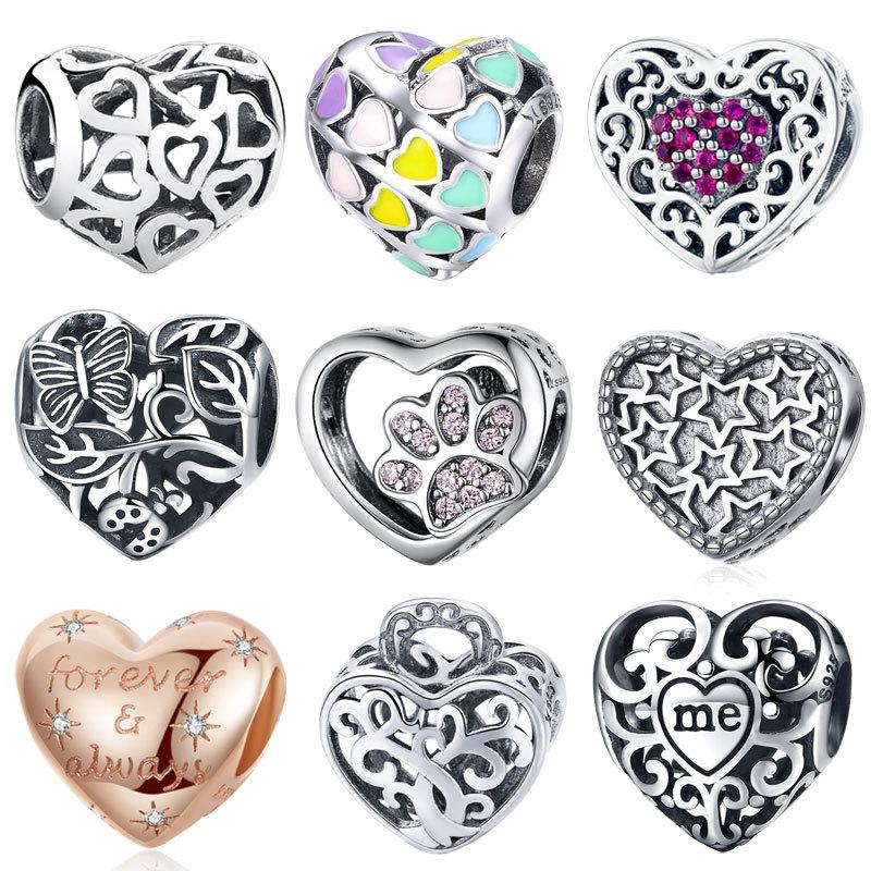 Genuine Sterling Silver 925 Grey Love Heart Enamel Bead For Charm Bracelet