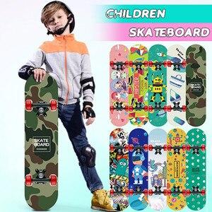 Children Four-wheel Skateboard Double Snubby Maple Skateboard Shock Absorption Scooter Skate Board Longboard #3