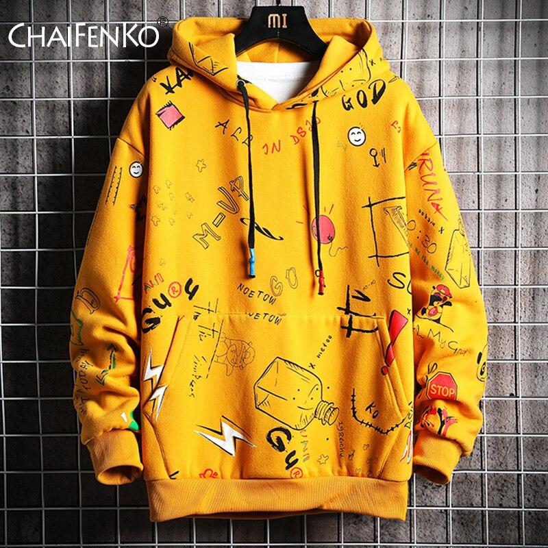 CHAIFENKO Men's Autumn Hoodies Men Spring Anime Graffiti Sweatshirt Male Hip Hop Harajuku Japanese Streetwear Casual Hoodie Men
