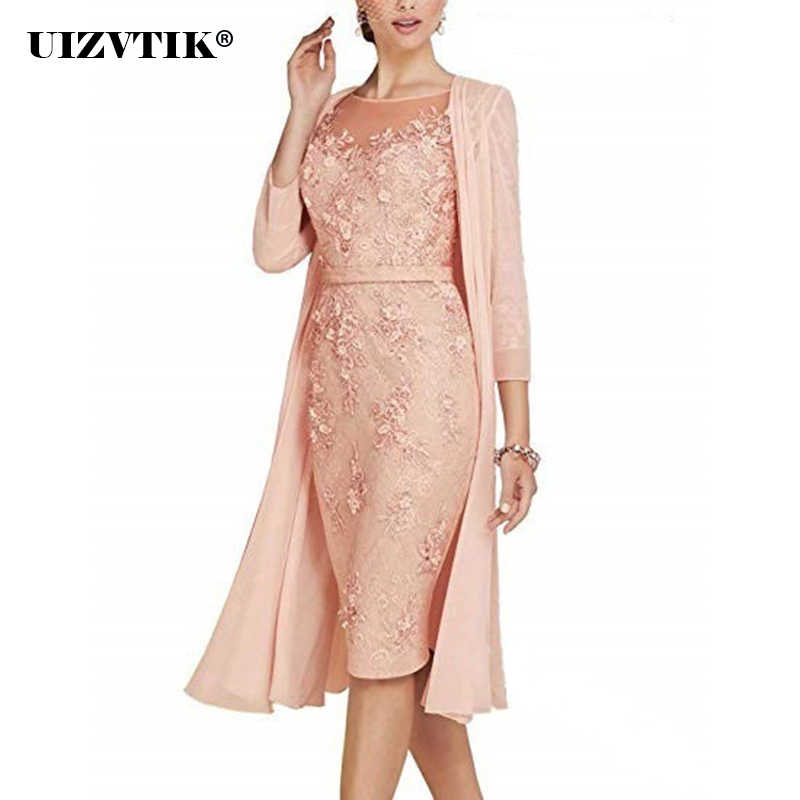 Autumn Winter Dress Women 2019 Casual Plus Size Slim Office Bodycon Dresses Sexy Elegant Hollow Out Lace Party Dress Cloak Set