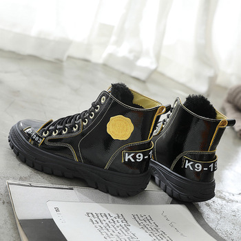 Shiny Winter High Top Sneakers Woman Platform Chunky Plus Plush Sneakers Vulcanized Shoes Ladies Winter Keep Warm Women Shoes