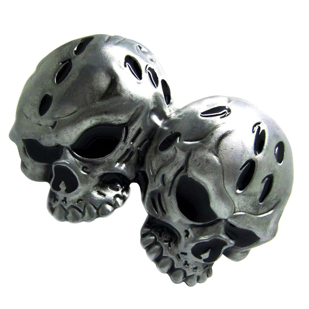 Western Belt Buckle Novelty 3D Double Skull Head Antique Silver Punk Cool Men Biker