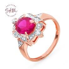Женское кольцо с рубинами skm Винтажное из розового золота 14