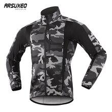 ARSUXEO, теплая куртка для велоспорта Mtb, для езды на велосипеде, зимняя, ночная, светоотражающая, теплая, велосипедная одежда, ветронепроницаемая, водонепроницаемая, мужская куртка для велоспорта, Джерси