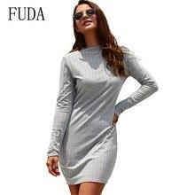 FUDA New High Quality Autumn Long Sleeve O Neck Elegant Knitted Dress Women Slim Holiday Dresses Vestidos De Fiesta Noche