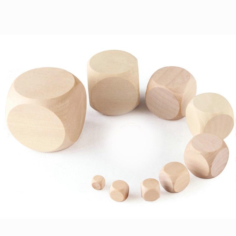 10 pçs/set dado em branco redondo, conjunto de dados em tamanho pequeno, madeira, 6 lados, educação diy, jogo de tabuleiro Accessory10-25mm