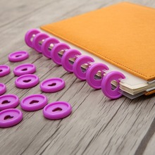 30PCS 24mm mushroom hole color plastic binding ring buckle DIY disc loose-leaf office learning supplies