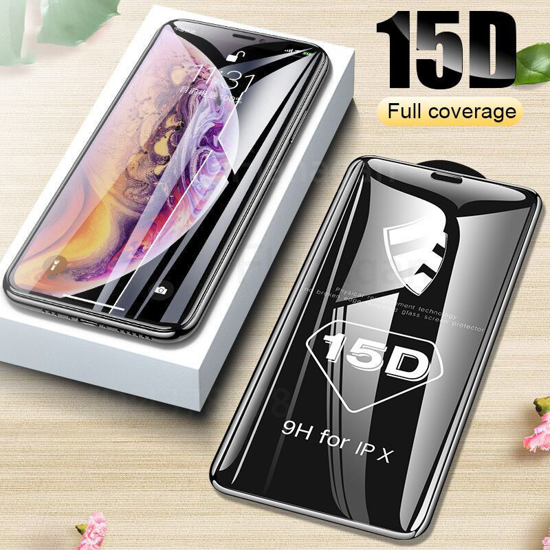 15D Protective Glass on the For iPhone 6 6s 7 8 plus XR X XS glass full cover iPhone 11 Pro Max Screen Protector Tempered Glass