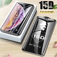 Vetro protettivo 15D per iPhone 6 7 8 plus XR X XS vetro full cover iPhone 11 12 Pro Max proteggi schermo vetro temperato