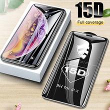 Protector de cristal templado 15D para iPhone, Protector de pantalla de vidrio templado para iPhone 6, 7, 8 plus, XR, X, XS, 11, 12 Pro Max