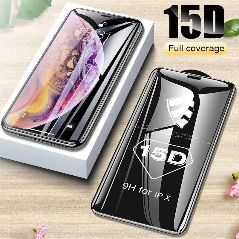 15D Verre Protecteur sur le Pour iPhone 6 6s 7 8 plus XR X XS verre pleine couverture iPhone 11 Pro Max Protecteur D'écran En Verre Trempé