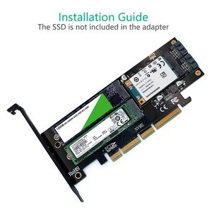 Image 4 - 3 في 1 mSATA M.2 PCIE NVMe SSD إلى PCI E 3.0 4X SATA 3.0 بطاقة محول لـ M2 NVMe AHCI SATA mSATA أقراص بحالة صلبة محول