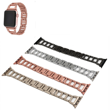 wristband For Apple watch metal strap Accessories Stainless steel trapezoidal diamond-set belt iwatch strip 1sh