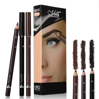 12pcs Eye Brow Pencils Make Up Set 3 Colors Waterproof Eyebrow Eye Liner Pen Lip sticks Cosmetics Beauty Makeup Tool Kit