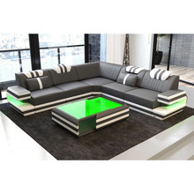 Modern leather sofa Living room furniture with LED light and music player(China)