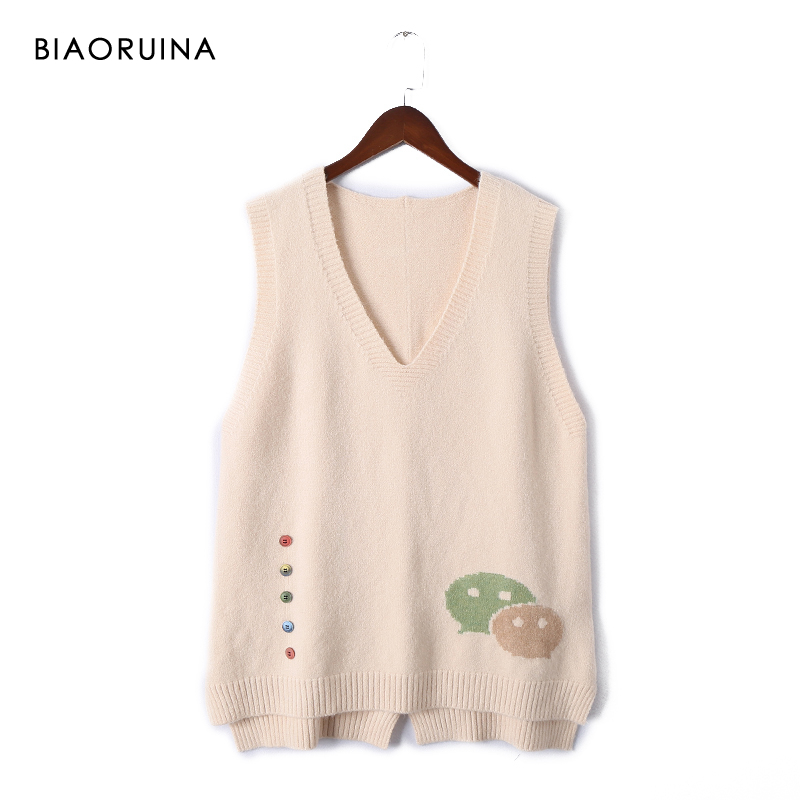 BIAORUINA 6 Colors Women's Korean Style All-match Sleeveless Knit Sweater Vest Female V-neck Fashion Pullover One Size