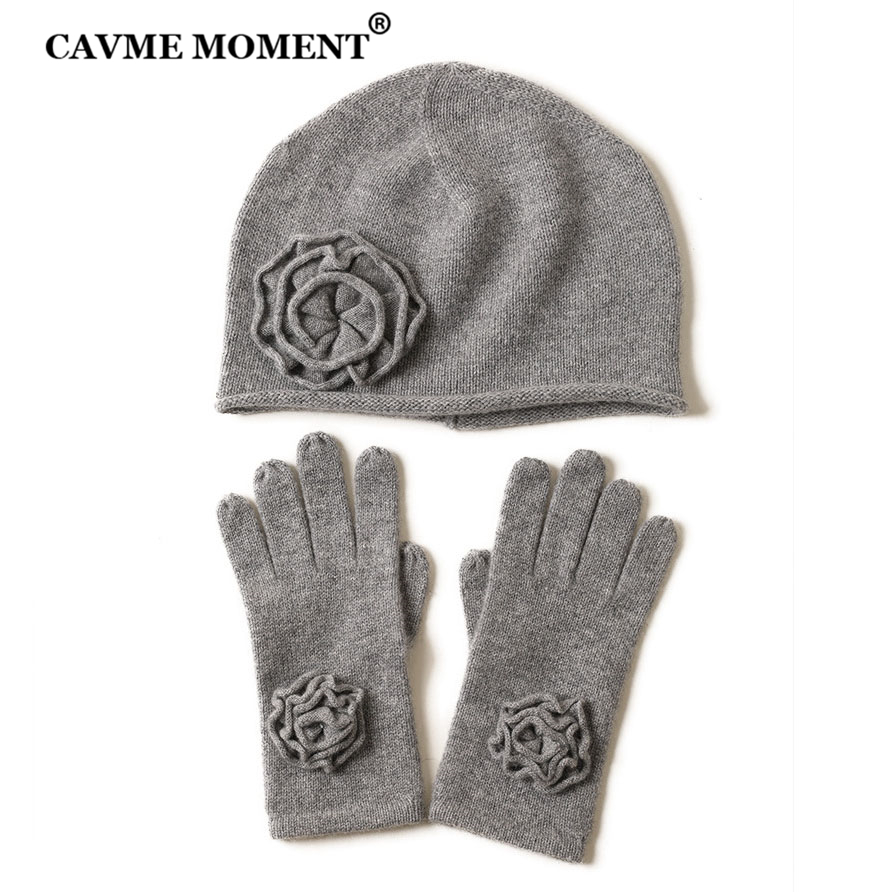 CAVME Knitted Cashmere Hat Gloves For Women Winter Ladies Hats With Flower Solid Color Knitting Glove