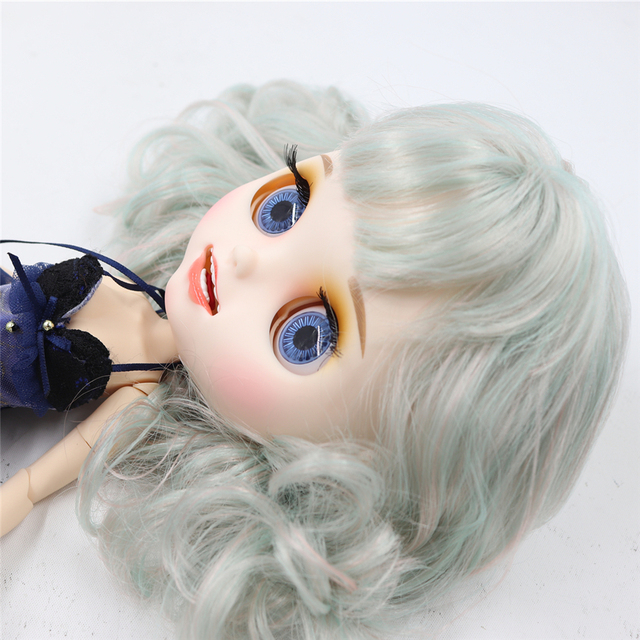 Blyth nude doll Carved lips Open mouth Matte customized face colorful hair 1/6 Joint body ICY bjd DIY toy girl gift