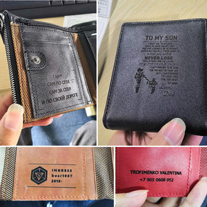 Image 5 - RFID Protected Free Engraving Genuine Leather Men Wallet Card Holders Wallets Double Zippers Coin Wallet Men Leather Short Purse