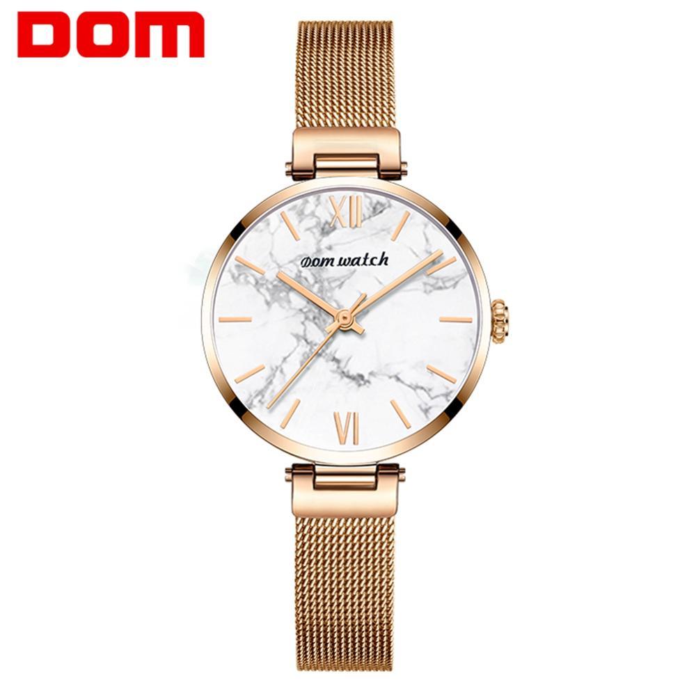 Dom Vrouwen Horloges Top Luxe Mode Vrouwelijke Quartz Horloge Dames Staal Waterdichte Klok Meisje Agaat Patroon Horloge