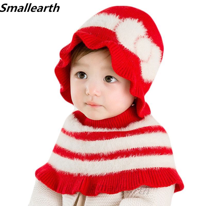 Kids Autumn Winter Hats Fashion Bow Girl Hat Scarf Set Children Warm Cap Scarf Set Baby Bonnet Enfant Knitted Cute Hat For Girl