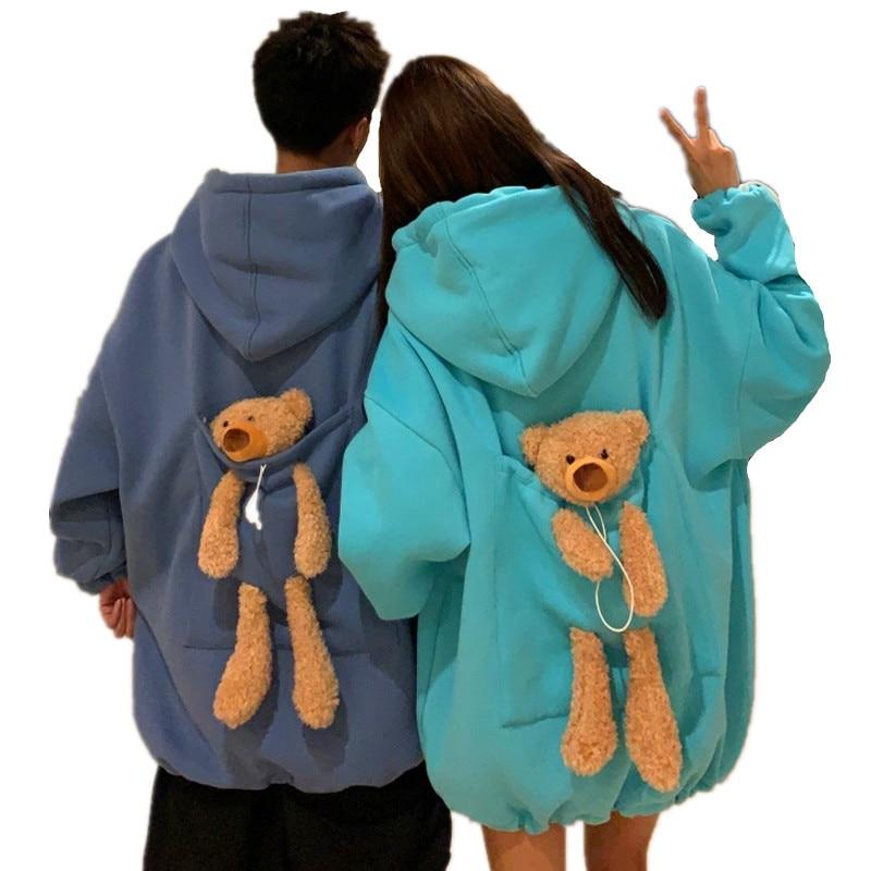 8.99US $ 10% OFF Autumn Hoodies Women Thicken Plus Velvet Bear Toy In Back Big Pocket Warm Soft Hood...