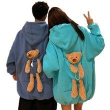 Осенние толстовки для женщин, утолщенный плюс бархат, медведь, игрушка в спине, большой карман, Теплый мягкий свитер с капюшоном, пара подход...