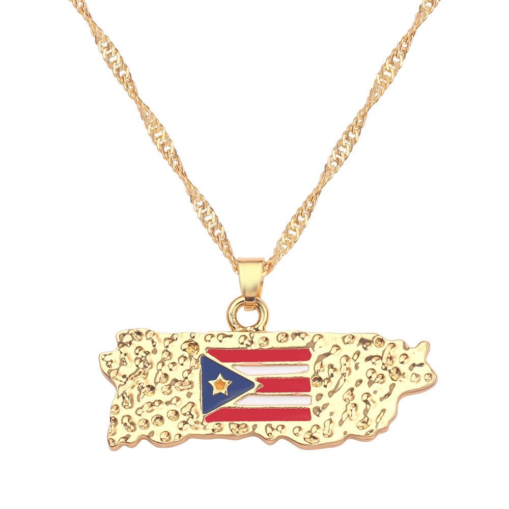 Новая карта страны, флаг, ожерелье, Африка, Гана, Liberia Undersea, Jamaica, Южная Африка, Congo, Honduras, подвеска, цепь, мужские ювелирные изделия - Окраска металла: Puerto Rico