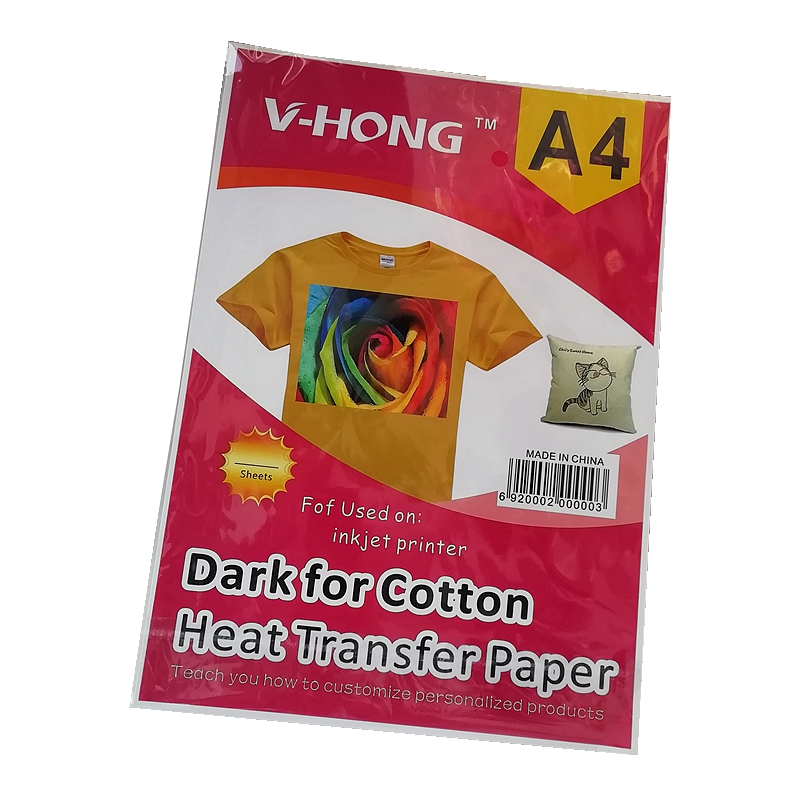 A4 Size Sublimation Paper Dark And Light Color 8.26x11.7 Inch Heat Transfer Paper 100% Cotton T-SHIRT Chemical Fiber