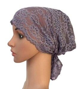 Image 5 - Flower Women Muslim Inner Cap Lace Head Wrap Cover Scarf Islamic Headwear Bonnet Hat Skullies Beanies Hair Loss Fashion