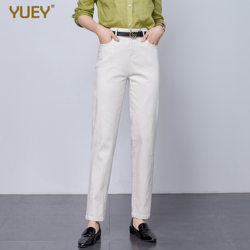 YUEY 2020 Spring S To 5XL Women's Jeans Large Size White Women Casual Pants Elastic High Waist Wide Harem Jeans Blue Cotton