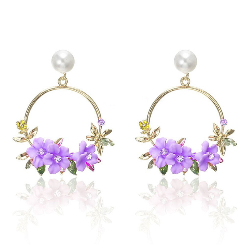 <font><b>Trendy</b></font> <font><b>Cute</b></font> <font><b>Pink</b></font> <font><b>Flower</b></font> Dangle <font><b>Earrings</b></font> <font><b>For</b></font> <font><b>Women</b></font> Girls Jewelry Female Rhinestone Round Circle <font><b>Earrings</b></font> Gift Brincos Jewelry image