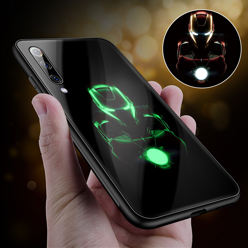 Luxury Luminous Tempered Glass <font><b>Case</b></font> Iron Man Silicone Back Cover For <font><b>Redmi</b></font> 4X <font><b>Note</b></font> <font><b>4</b></font> 5 6 7 8Pro <font><b>Marvel</b></font> Avengers <font><b>Case</b></font> Coque Funda image