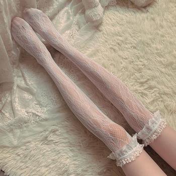 Lolita długa rurka białe koronkowe oczka kobiece podkolanówki wysokie rurki uda środkowe rurki łydki skarpetki cienki odcinek Student Jk czarno-białe tanie i dobre opinie CN (pochodzenie) spandex NYLON 1 pc Stockings W stylu rysunkowym Elastic WOMEN STANDARD