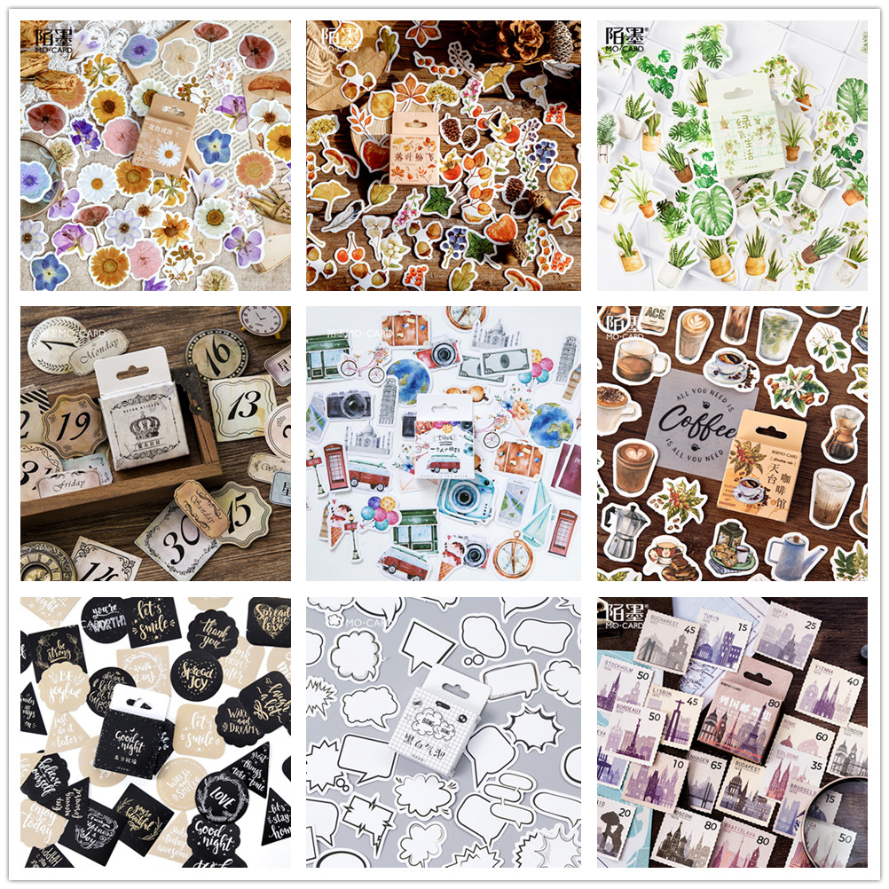 (42 Styles Can Choose) Forest Stamp Boxed Stickers DIY Scrapbooking Paper Diary Planner Album Vintage Seal Decoration @TZ-0